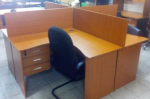 4 Way Curved/Straight Workstation with Fixed Drawers